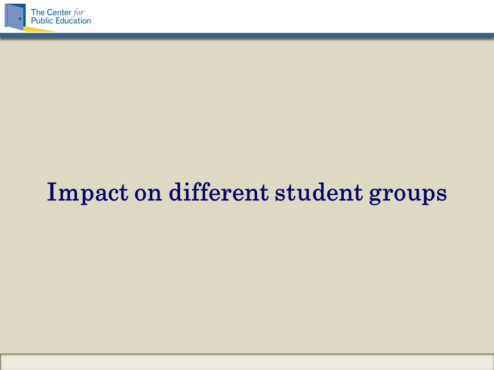 Impact on different student groups