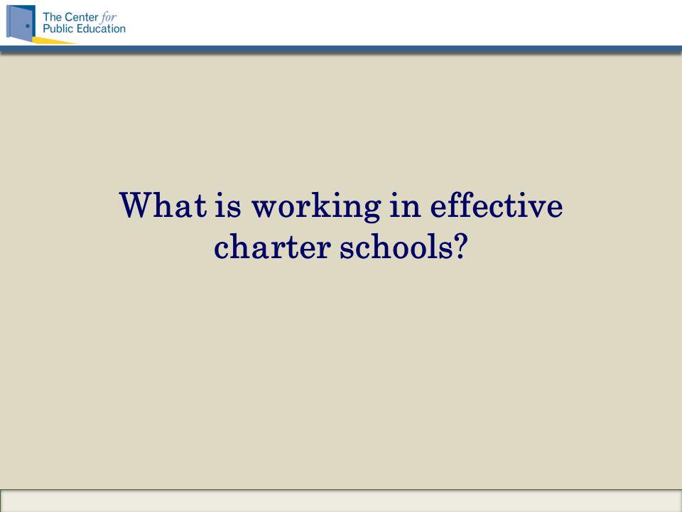 What is working in effective charter schools