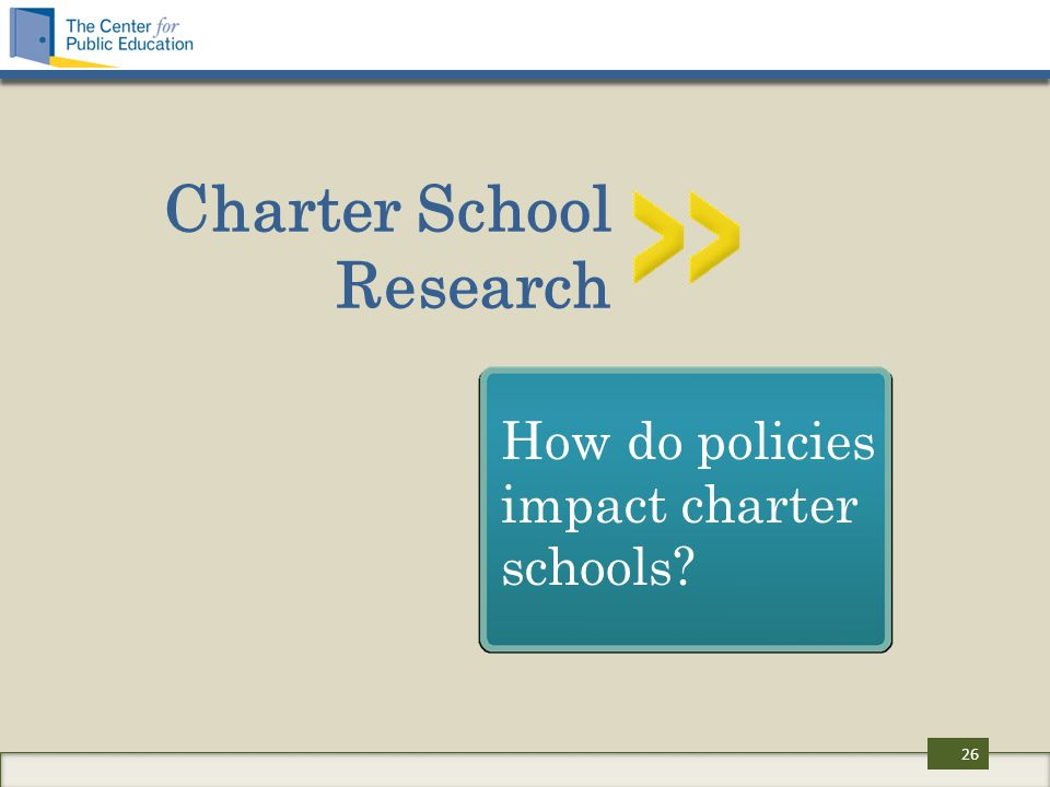 Charter School Research How do policies impact charter schools 26