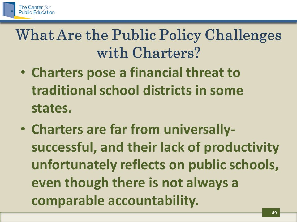 What Are the Public Policy Challenges with Charters? Charters pose a financial threat to traditional school districts in some states. Charters are far