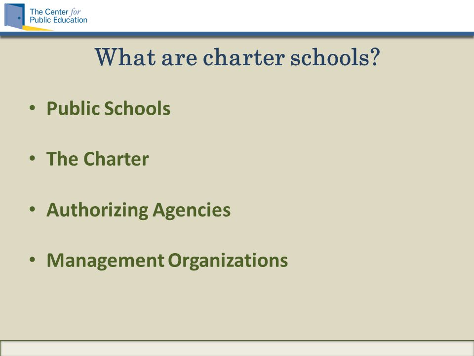 What are charter schools Public Schools The Charter Authorizing Agencies Management Organizations