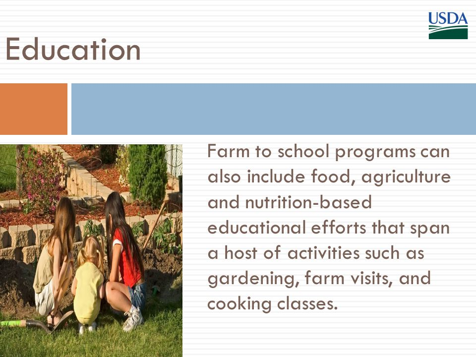 Farm to school programs can also include food, agriculture and nutrition-based educational efforts that span a host of activities such as gardening, farm visits, and cooking classes.