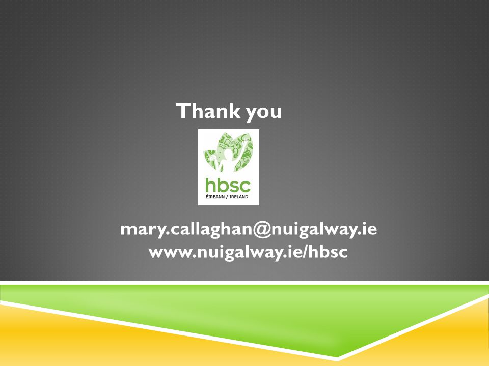 mary.callaghan@nuigalway.ie www.nuigalway.ie/hbsc Thank you