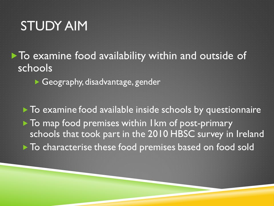 METHODS  Identifier file – school name, address, gender, DEIS status  Geocode schools  Export food selling premises from GeoDirectory and categorise them based on food sold  Create a spatially enabled dataset containing school food information and external food premises within a 1km circular buffer within ArcGIS