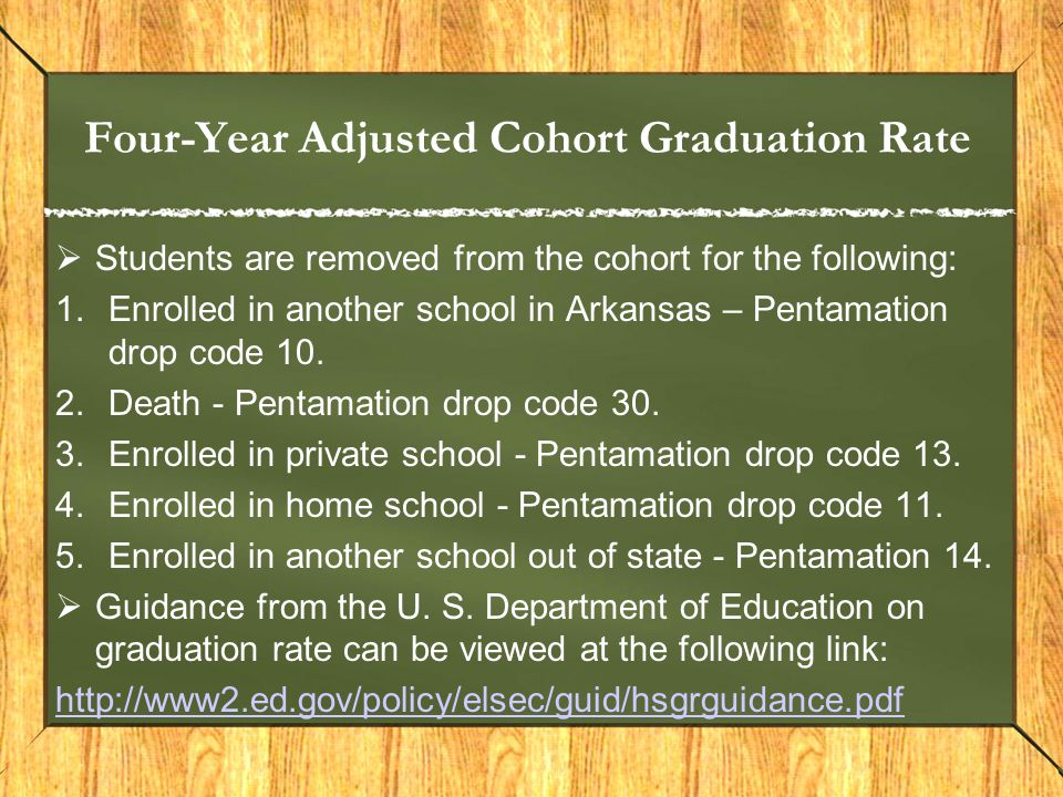 Four-Year Adjusted Cohort Graduation Rate  Students are removed from the cohort for the following: 1.Enrolled in another school in Arkansas – Pentama