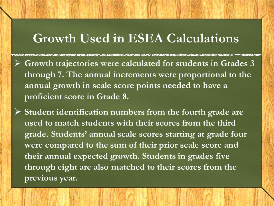 Growth Used in ESEA Calculations  Growth trajectories were calculated for students in Grades 3 through 7. The annual increments were proportional to