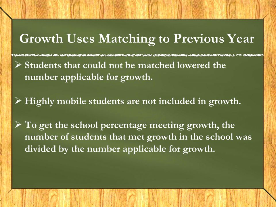Growth Uses Matching to Previous Year  Students that could not be matched lowered the number applicable for growth.  Highly mobile students are not