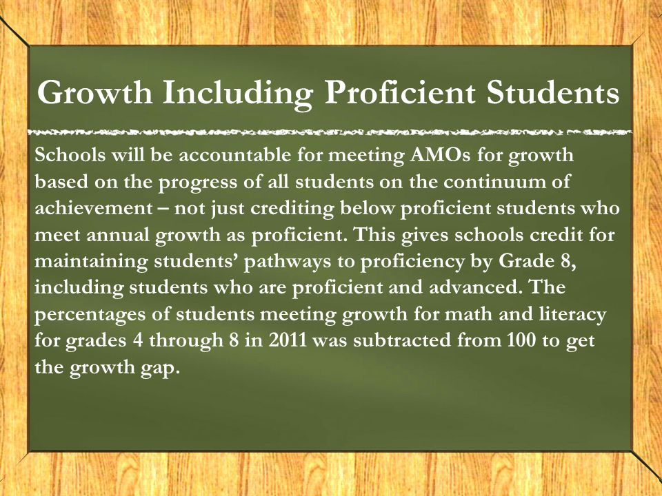 Growth Including Proficient Students Schools will be accountable for meeting AMOs for growth based on the progress of all students on the continuum of