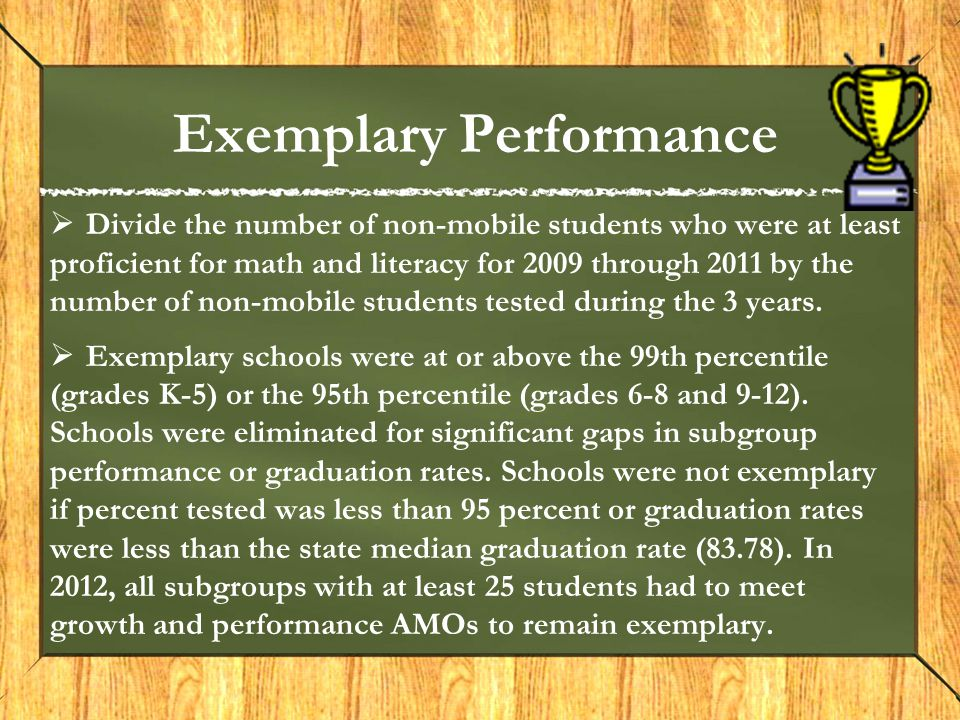 Exemplary Performance  Divide the number of non-mobile students who were at least proficient for math and literacy for 2009 through 2011 by the number of non-mobile students tested during the 3 years.