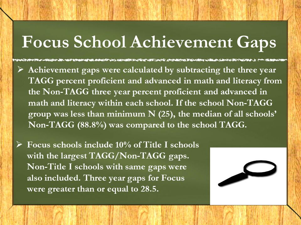 Focus School Achievement Gaps  Achievement gaps were calculated by subtracting the three year TAGG percent proficient and advanced in math and litera