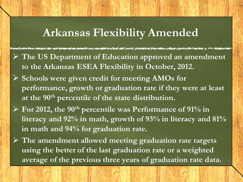Arkansas Flexibility Amended  The US Department of Education approved an amendment to the Arkansas ESEA Flexibility in October, 2012.  Schools were