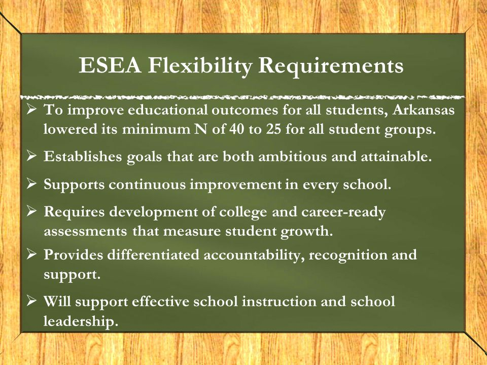 ESEA Flexibility Requirements  To improve educational outcomes for all students, Arkansas lowered its minimum N of 40 to 25 for all student groups. 