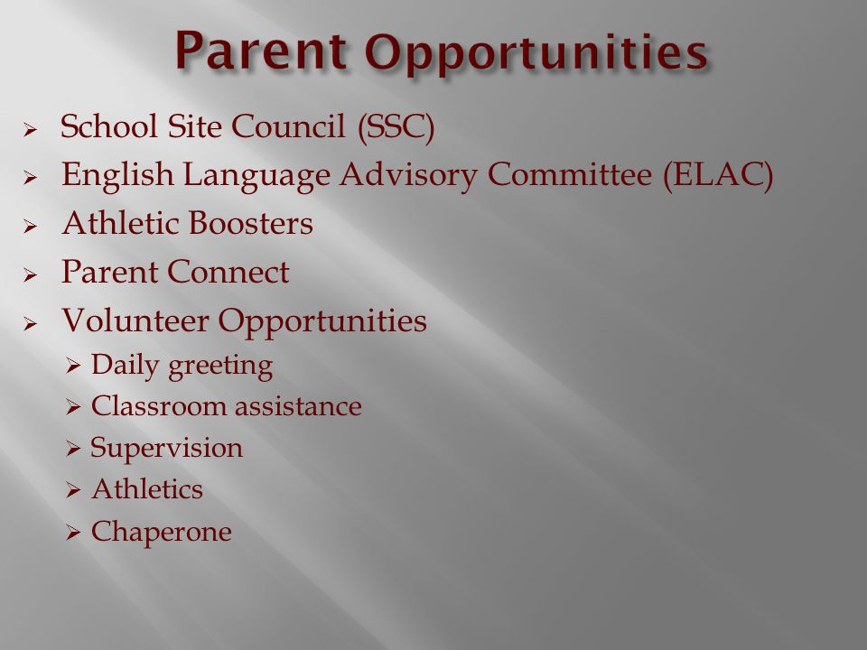  School Site Council (SSC)  English Language Advisory Committee (ELAC)  Athletic Boosters  Parent Connect  Volunteer Opportunities  Daily greeting  Classroom assistance  Supervision  Athletics  Chaperone