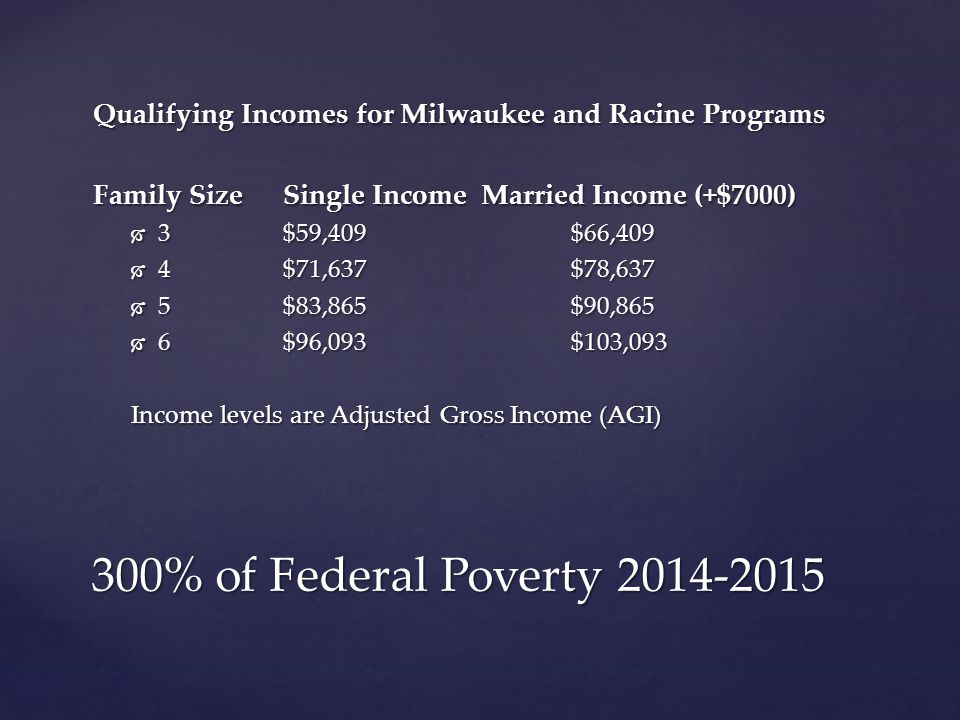 300% of Federal Poverty 2014-2015 Qualifying Incomes for Milwaukee and Racine Programs Family Size Single Income Married Income (+$7000)  3$59,409 $66,409  4 $71,637 $78,637  5 $83,865 $90,865  6 $96,093 $103,093 Income levels are Adjusted Gross Income (AGI)