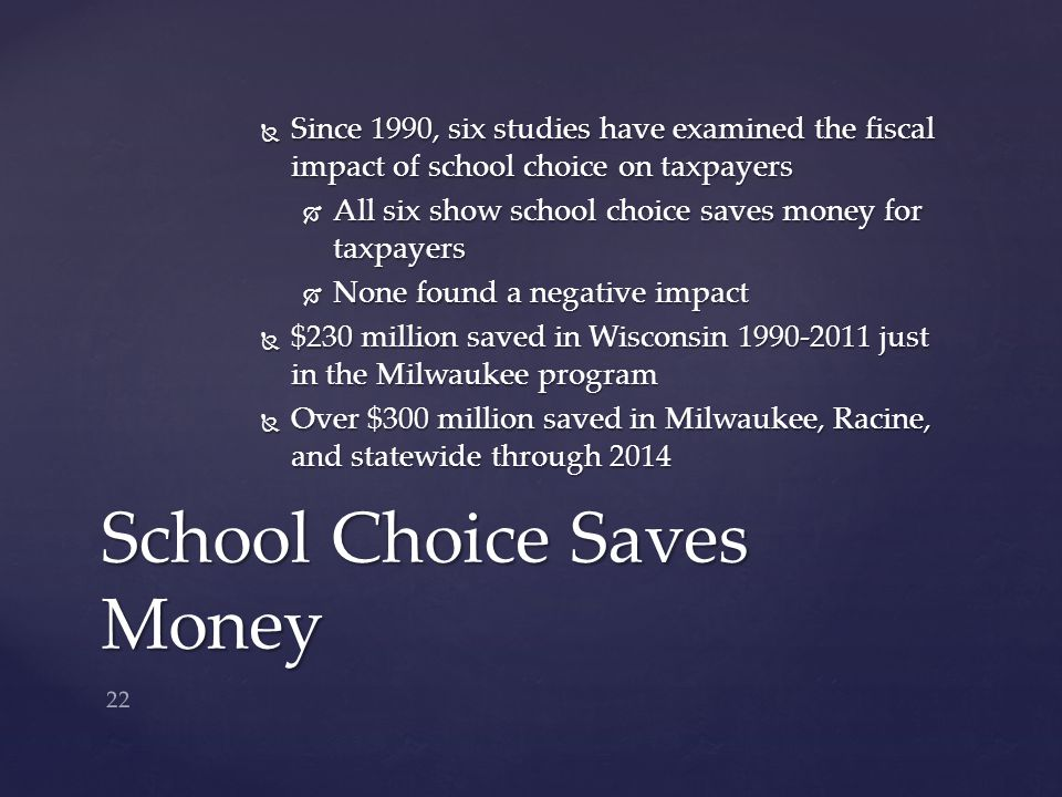  Since 1990, six studies have examined the fiscal impact of school choice on taxpayers  All six show school choice saves money for taxpayers  None found a negative impact  $230 million saved in Wisconsin 1990-2011 just in the Milwaukee program  Over $300 million saved in Milwaukee, Racine, and statewide through 2014 School Choice Saves Money 22
