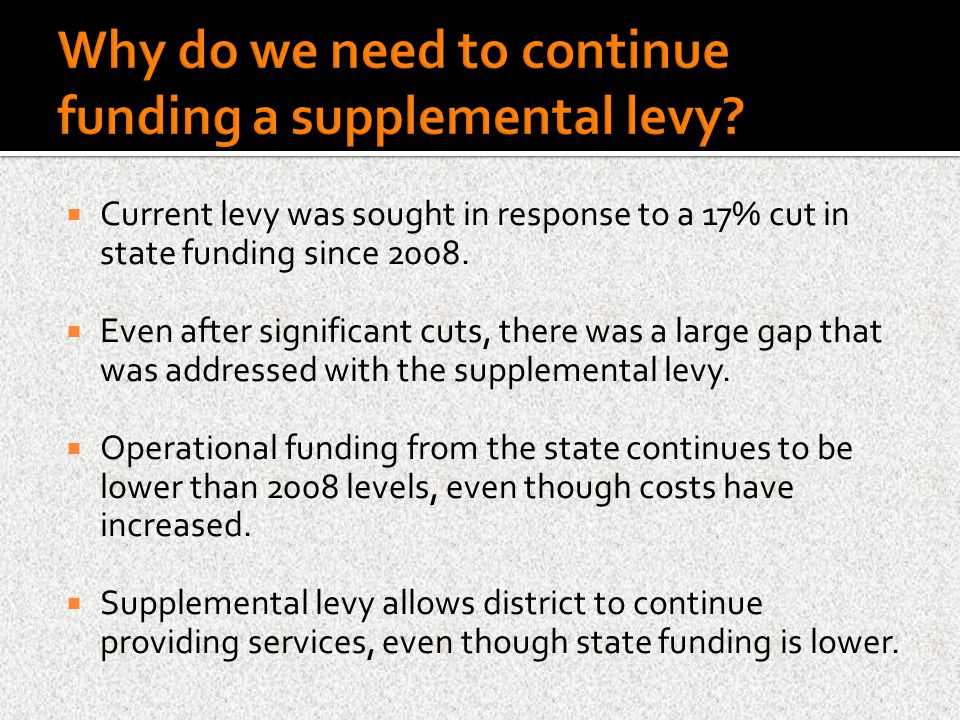  Current levy was sought in response to a 17% cut in state funding since 2008.