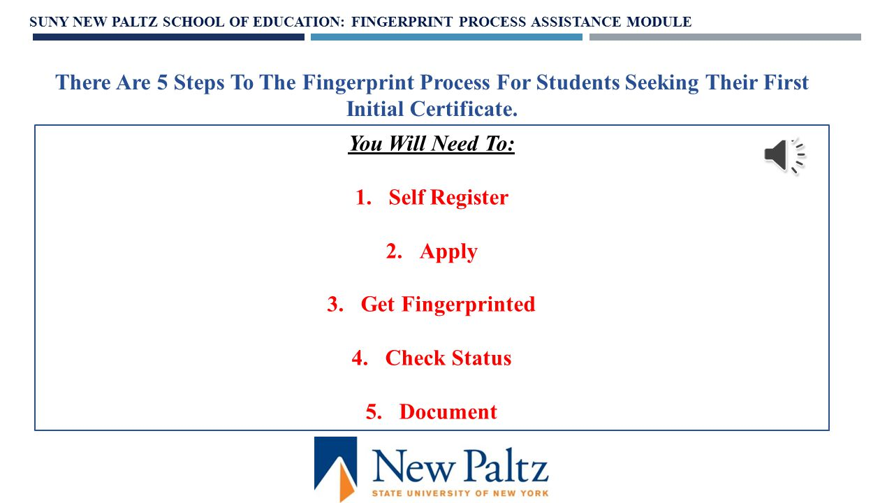 All students must apply for fingerprint clearance upon entry into an Education program and have them processed and documented before Fieldwork Observations.