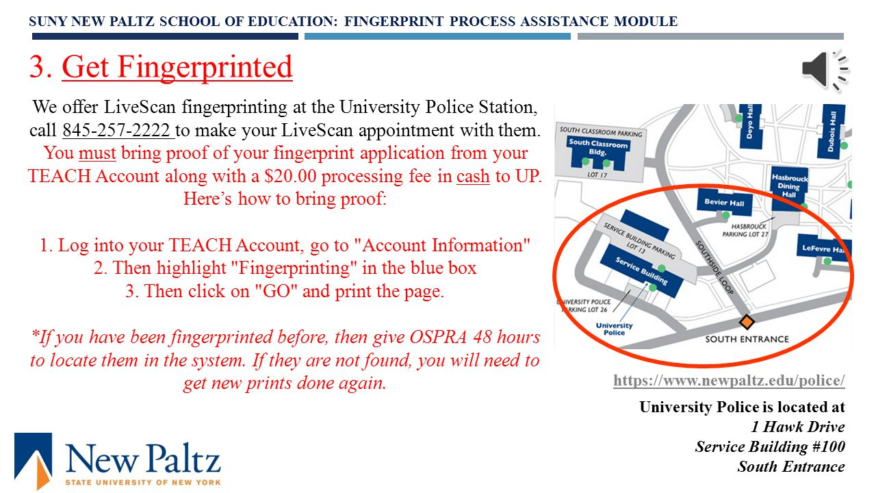 """1. Log in 2. Click the """"TEACH On-Line Services"""" tab 3. From the menu of options under """"Fingerprint Links,"""" choose: """"Submit Application for Fingerprint"""