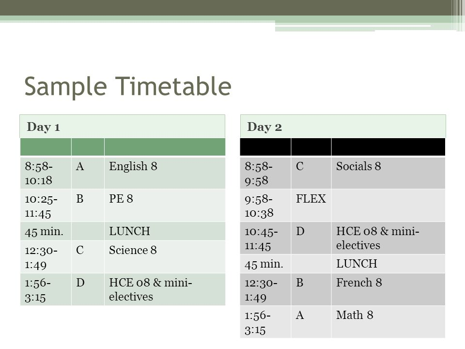 Sample Timetable Day 1 8:58- 10:18 AEnglish 8 10:25- 11:45 BPE 8 45 min.LUNCH 12:30- 1:49 CScience 8 1:56- 3:15 DHCE 08 & mini- electives Day 2 8:58- 9:58 CSocials 8 9:58- 10:38 FLEX 10:45- 11:45 DHCE 08 & mini- electives 45 min.LUNCH 12:30- 1:49 BFrench 8 1:56- 3:15 AMath 8