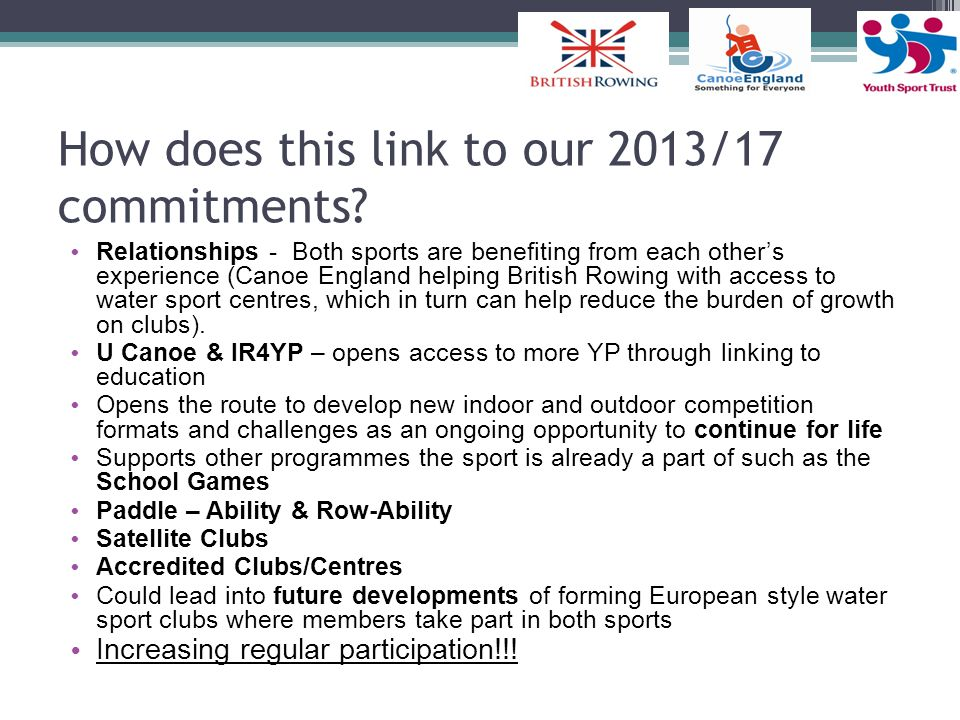 How does this link to our 2013/17 commitments.