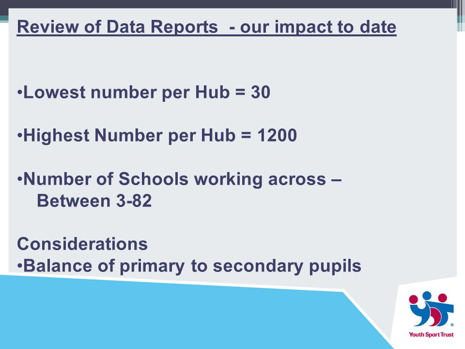 Review of Data Reports - our impact to date Lowest number per Hub = 30 Highest Number per Hub = 1200 Number of Schools working across – Between 3-82 Considerations Balance of primary to secondary pupils