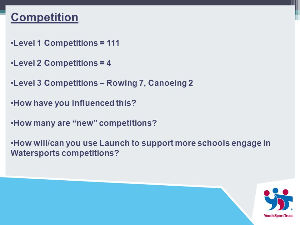 Competition Level 1 Competitions = 111 Level 2 Competitions = 4 Level 3 Competitions – Rowing 7, Canoeing 2 How have you influenced this.