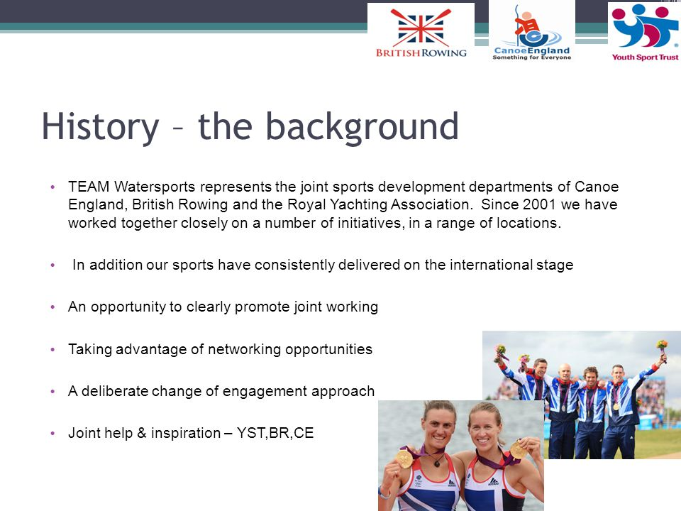 History – the background TEAM Watersports represents the joint sports development departments of Canoe England, British Rowing and the Royal Yachting Association.