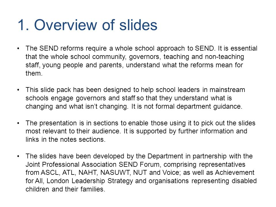 5 The SEND reforms build on the best practice over the past 13 years since the last Code of Practice was written.