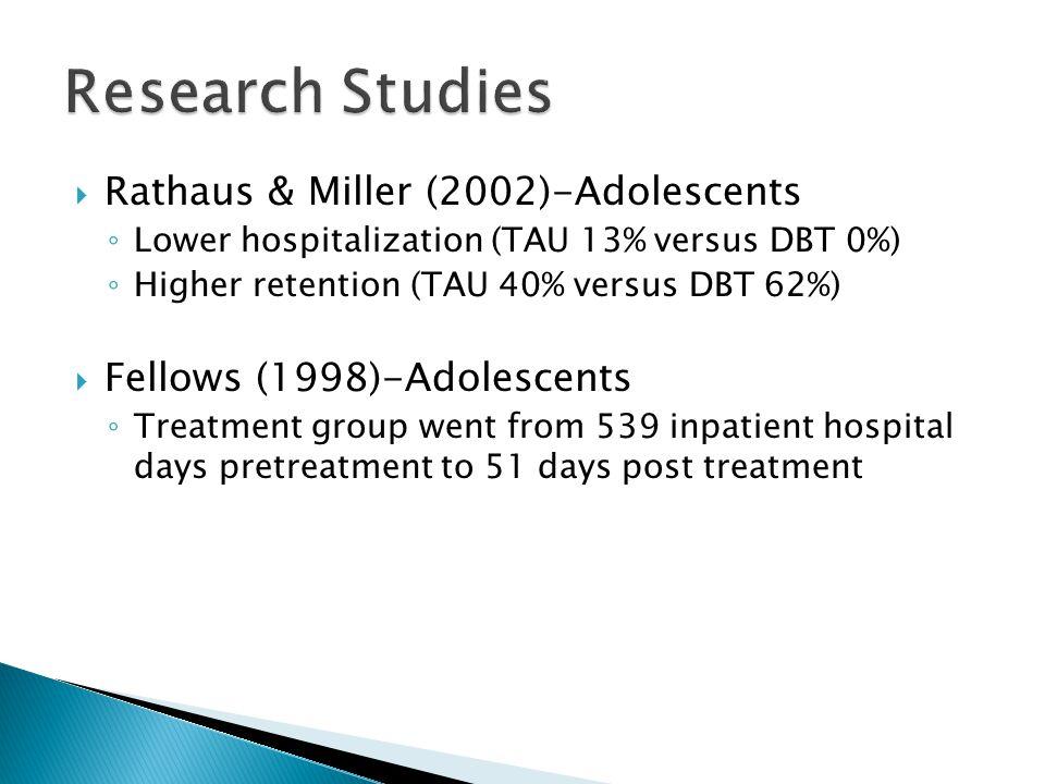  Rathaus & Miller (2002)-Adolescents ◦ Lower hospitalization (TAU 13% versus DBT 0%) ◦ Higher retention (TAU 40% versus DBT 62%)  Fellows (1998)-Adolescents ◦ Treatment group went from 539 inpatient hospital days pretreatment to 51 days post treatment