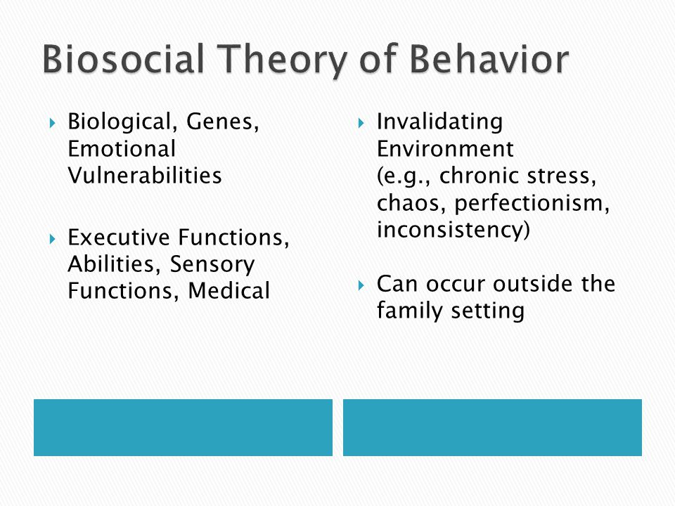  Biological, Genes, Emotional Vulnerabilities  Executive Functions, Abilities, Sensory Functions, Medical  Invalidating Environment (e.g., chronic stress, chaos, perfectionism, inconsistency)  Can occur outside the family setting