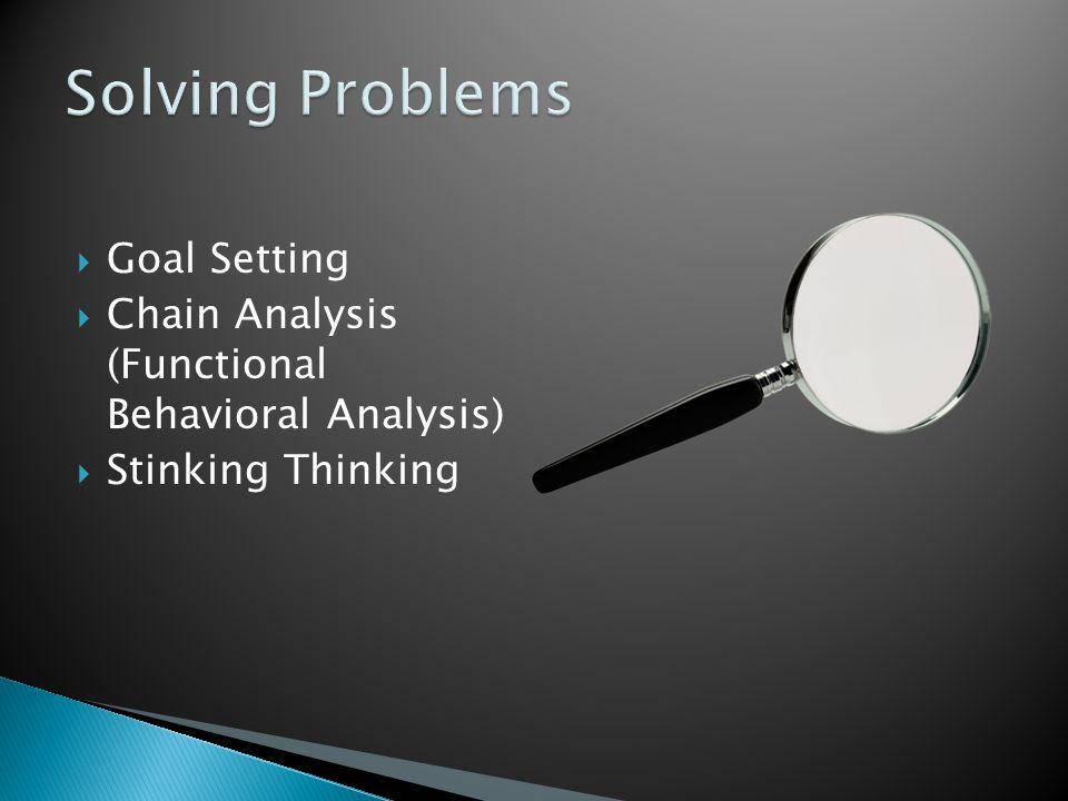  Goal Setting  Chain Analysis (Functional Behavioral Analysis)  Stinking Thinking