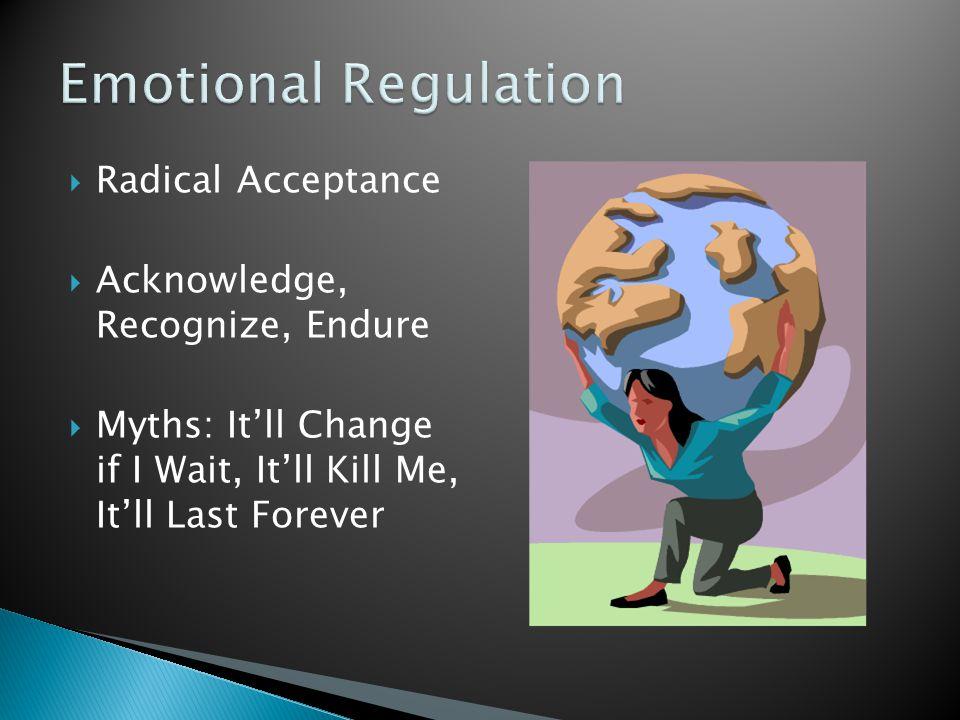  Radical Acceptance  Acknowledge, Recognize, Endure  Myths: It'll Change if I Wait, It'll Kill Me, It'll Last Forever