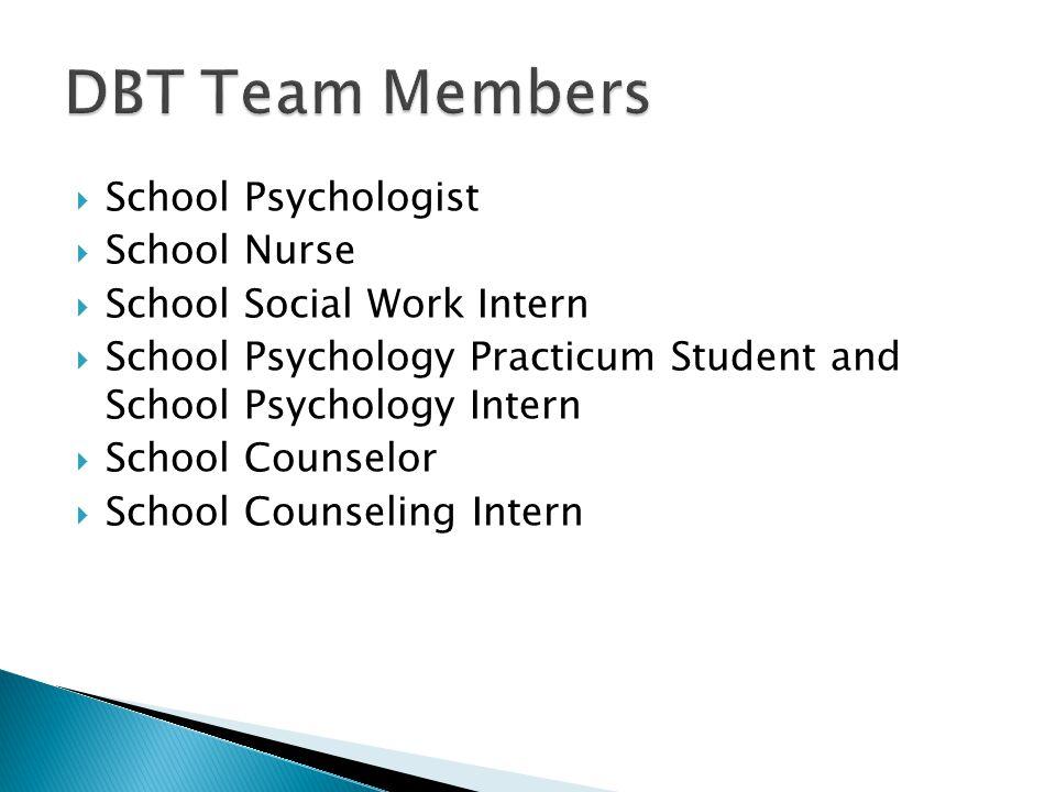  School Psychologist  School Nurse  School Social Work Intern  School Psychology Practicum Student and School Psychology Intern  School Counselor  School Counseling Intern