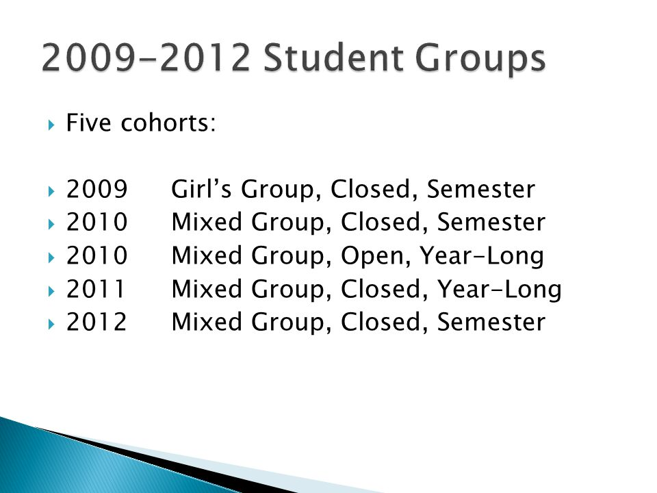  Five cohorts:  2009Girl's Group, Closed, Semester  2010Mixed Group, Closed, Semester  2010Mixed Group, Open, Year-Long  2011Mixed Group, Closed, Year-Long  2012Mixed Group, Closed, Semester
