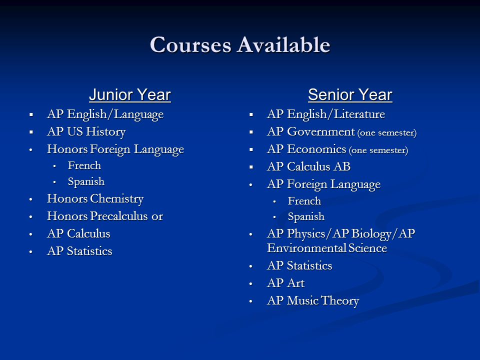 Courses Available Junior Year  AP English/Language  AP US History Honors Foreign Language Honors Foreign Language French French Spanish Spanish Honors Chemistry Honors Chemistry Honors Precalculus or Honors Precalculus or AP Calculus AP Calculus AP Statistics AP Statistics Senior Year  AP English/Literature  AP Government (one semester)  AP Economics (one semester)  AP Calculus AB AP Foreign Language French Spanish AP Physics/AP Biology/AP Environmental Science AP Statistics AP Art AP Music Theory