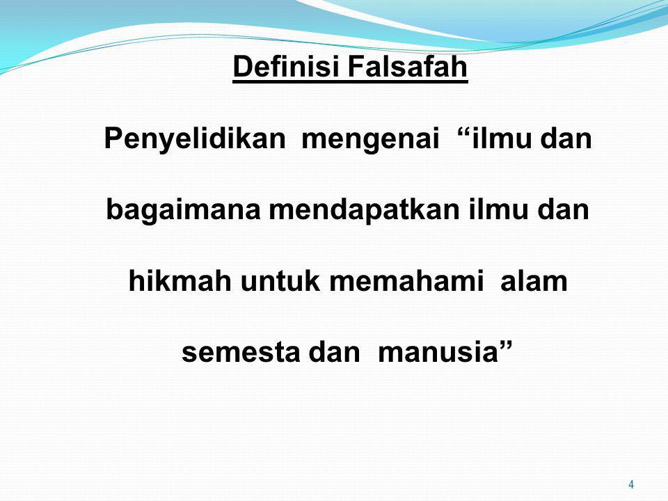 5 Definisi Falsafah Pegangan seseorang individu tentang kehidupan / cara hidupnya, atau bagaimana untuk menangani sesuatu situasi.