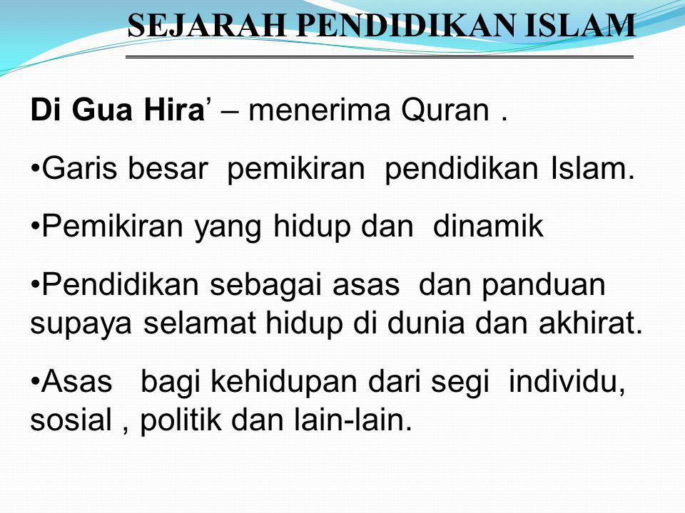 SEJARAH PENDIDIKAN ISLAM Di Gua Hira' – menerima Quran.