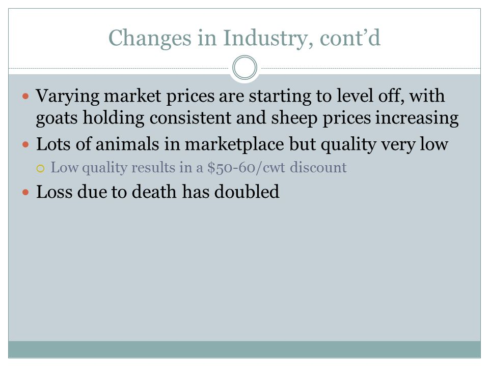 Changes in Industry, cont'd Varying market prices are starting to level off, with goats holding consistent and sheep prices increasing Lots of animals in marketplace but quality very low  Low quality results in a $50-60/cwt discount Loss due to death has doubled