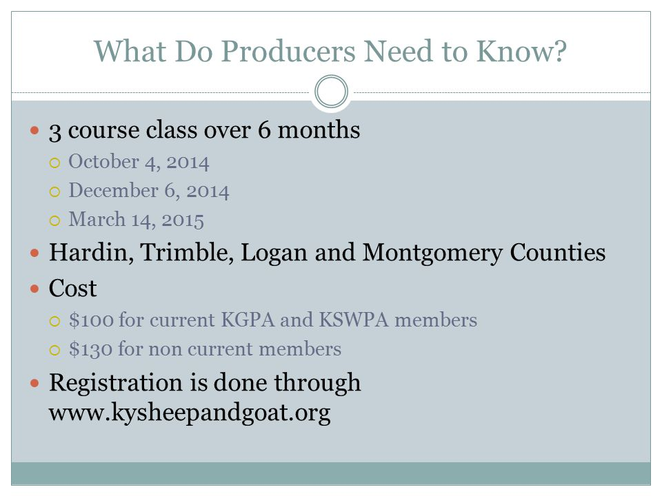 What Do Producers Need to Know.