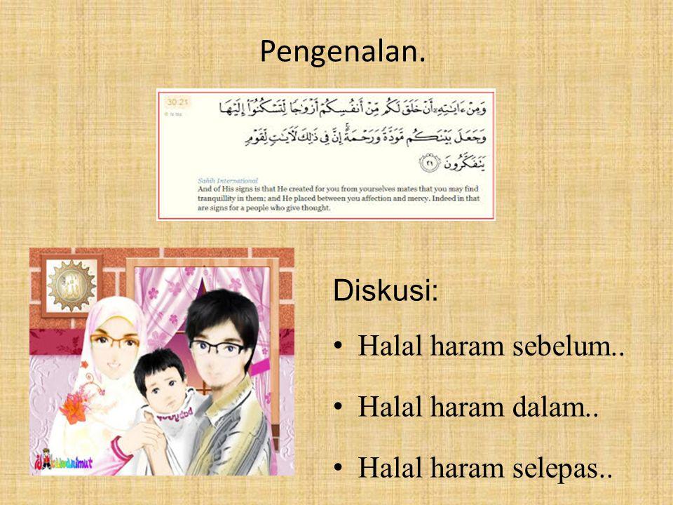 Pengenalan. Diskusi: Halal haram sebelum.. Halal haram dalam.. Halal haram selepas..
