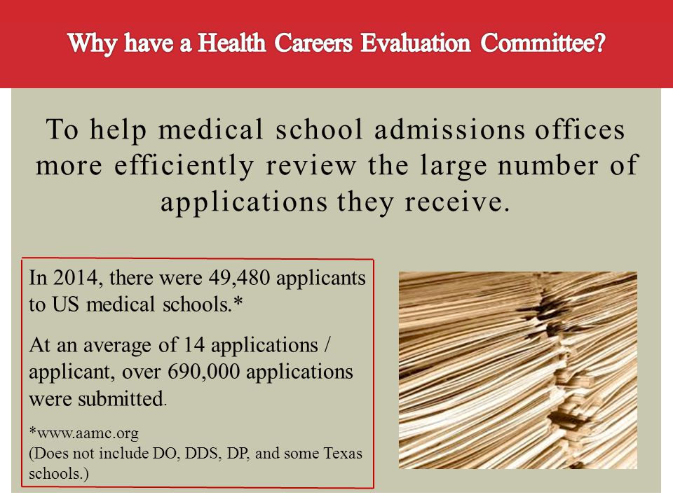 To help medical school admissions offices more efficiently review the large number of applications they receive. In 2014, there were 49,480 applicants