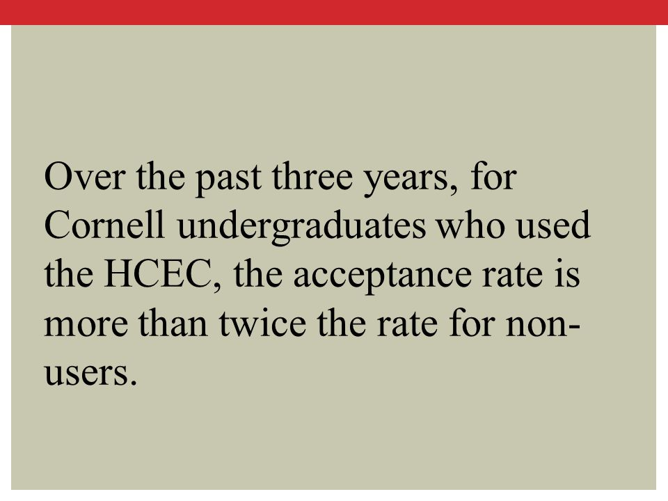 Over the past three years, for Cornell undergraduates who used the HCEC, the acceptance rate is more than twice the rate for non- users.