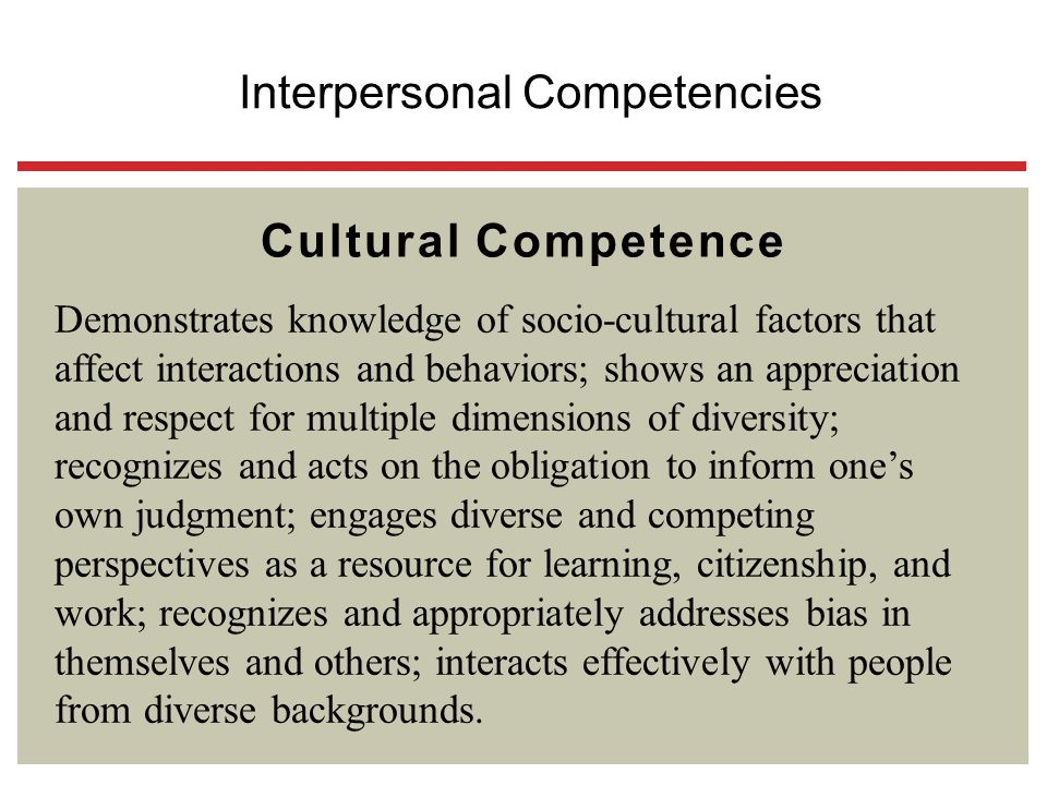 Cultural Competence Demonstrates knowledge of socio-cultural factors that affect interactions and behaviors; shows an appreciation and respect for mul