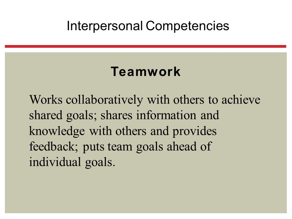 Teamwork Works collaboratively with others to achieve shared goals; shares information and knowledge with others and provides feedback; puts team goal