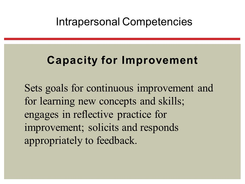 Capacity for Improvement Sets goals for continuous improvement and for learning new concepts and skills; engages in reflective practice for improvemen