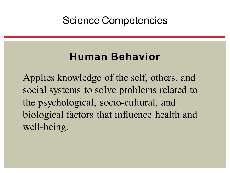 Human Behavior Applies knowledge of the self, others, and social systems to solve problems related to the psychological, socio-cultural, and biologica