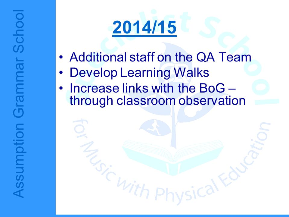 Assumption Grammar School 2014/15 Additional staff on the QA Team Develop Learning Walks Increase links with the BoG – through classroom observation