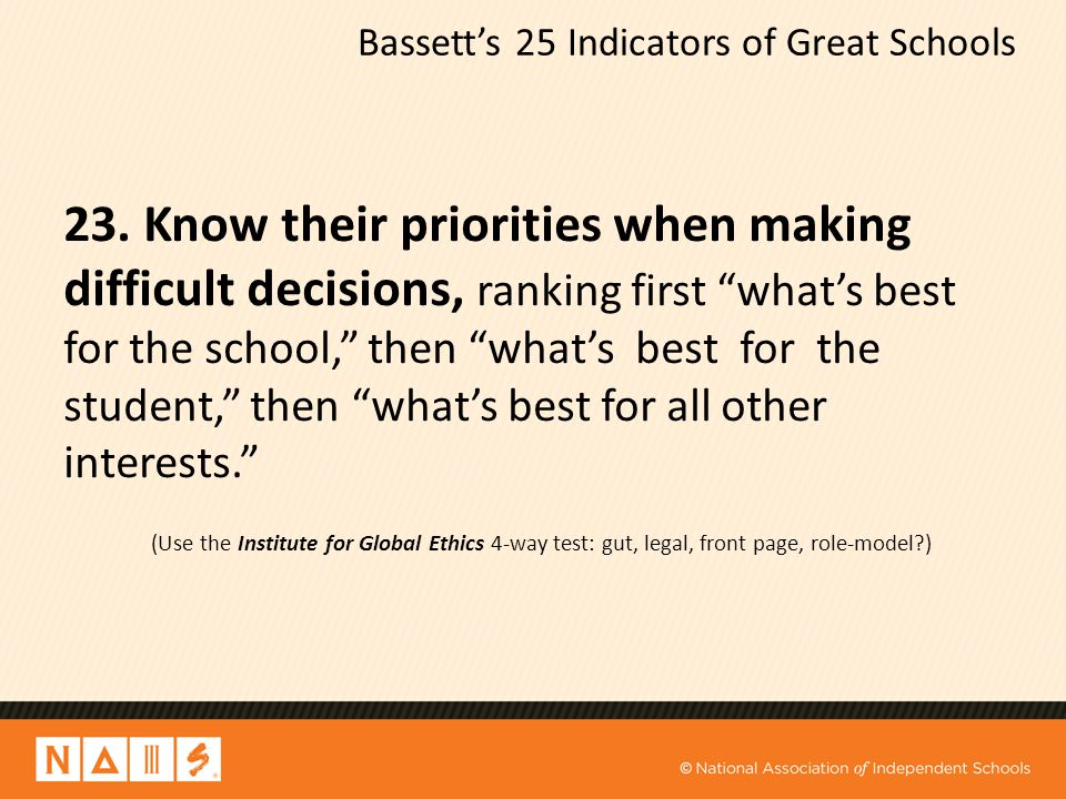 "Bassett's 25 Indicators of Great Schools 23. Know their priorities when making difficult decisions, ranking first ""what's best for the school,"" then """