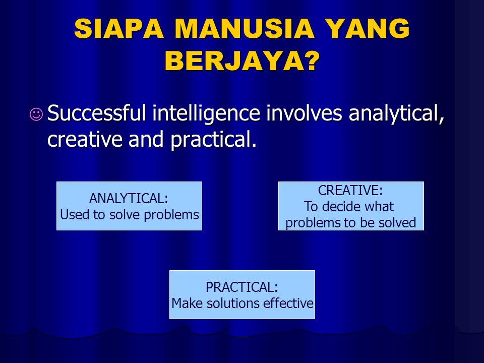 SIAPA MANUSIA YANG BERJAYA. Successful intelligence involves analytical, creative and practical.