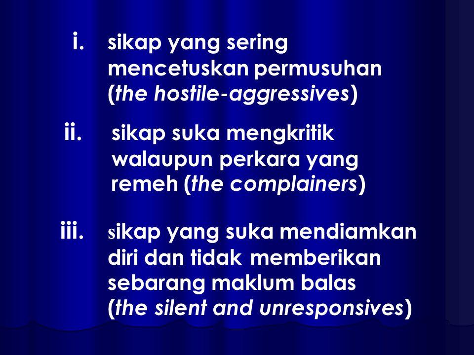 i. sikap yang sering mencetuskan permusuhan ( the hostile-aggressives ) ii.